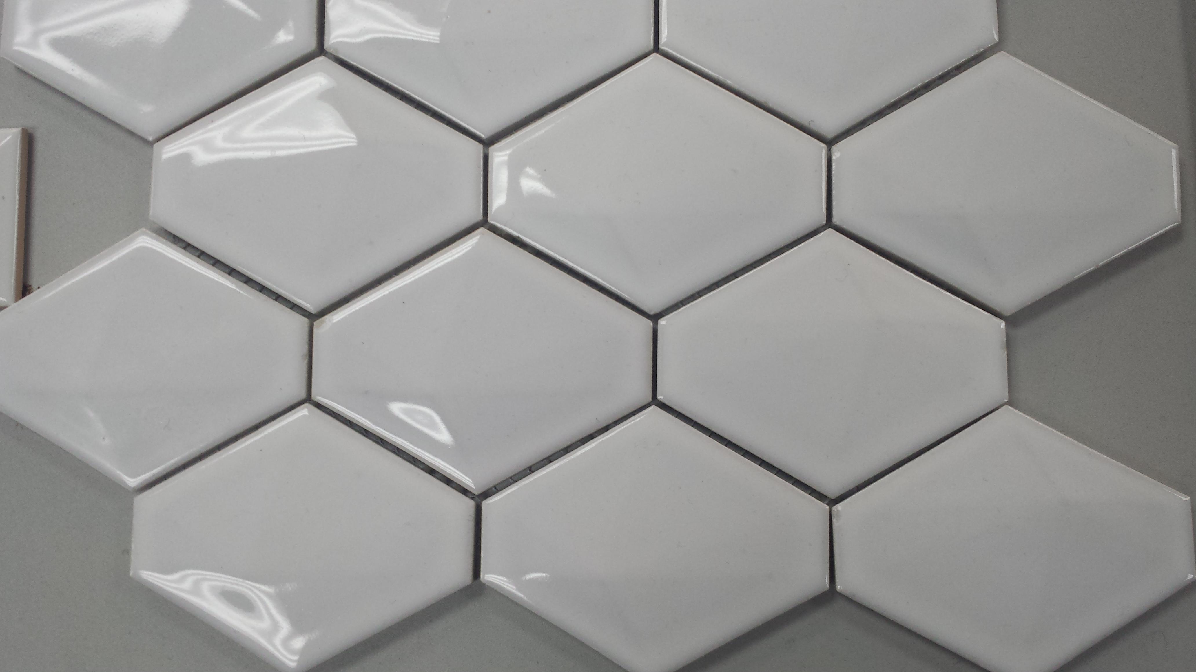 3d hexagonal white gloss