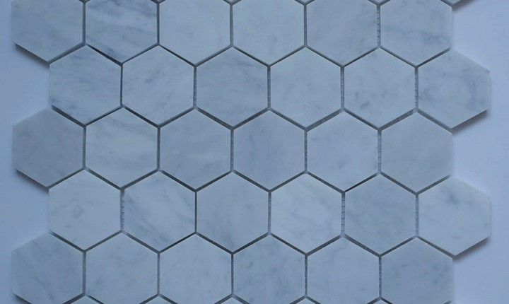 solid stone carrara hexagon mosaic