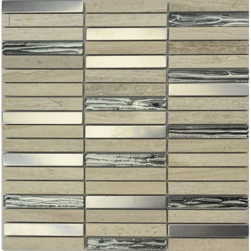 SILVER TRAV. METAL MIX BARS HONED 300X300